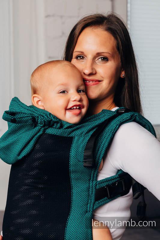 LennyGo Mochila ergonómica de malla Línea Básica - EMERALD - talla toddler, tejido Herringbone, 86% algodón, 14% poliéster  #babywearing