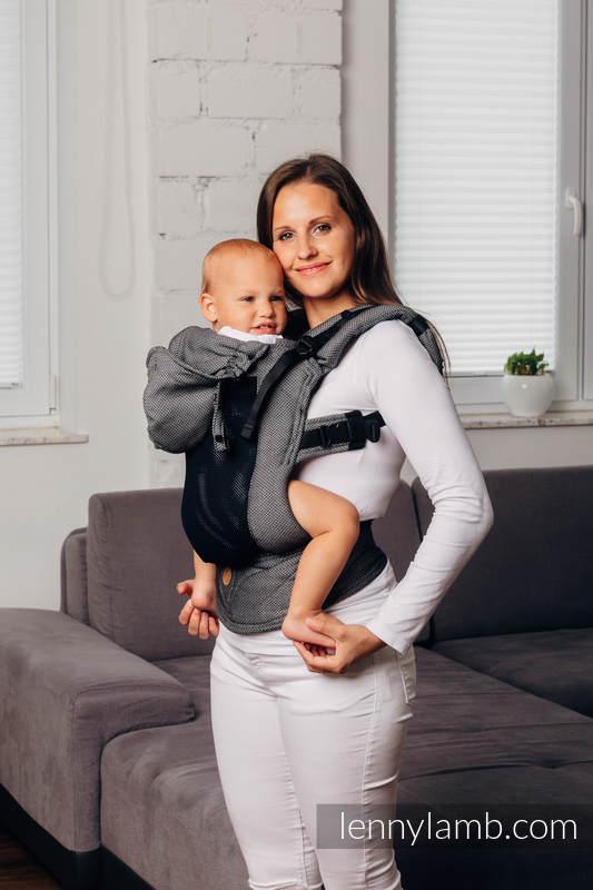 LennyGo Mochila ergonómica de malla Línea Básica - GRAPHITE -  talla bebé, tejido Herringbone, 86% algodón, 14% poliéster #babywearing