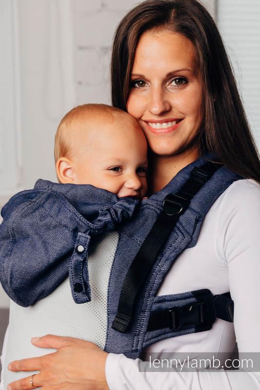 LennyGo Mochila ergonómica de malla Línea Básica - JEANS - talla bebé, tejido satin, 86% algodón, 14% poliéster #babywearing