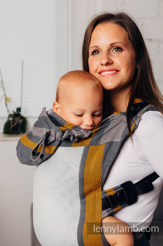 LennyGo Ergonomic Mesh Carrier, Baby Size, broken-twill weave 86% cotton, 14% polyester - SMOKY - HONEY #babywearing