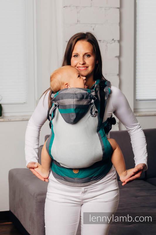 LennyGo Ergonomische  Mesh-Tragehilfe, Größe Baby, Kreuzköper-Bindung, 86% Baumwolle, 14% Poliester - SMOKY - MINT #babywearing