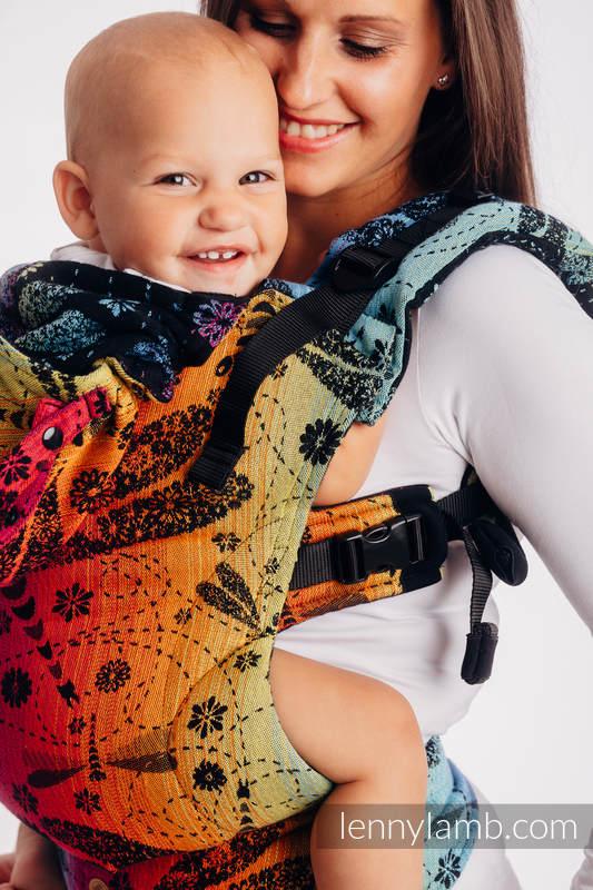 LennyGo Mochila ergonómica, talla Toddler, jacquard 100% algodón - DRAGONFLY RAINBOW DARK #babywearing
