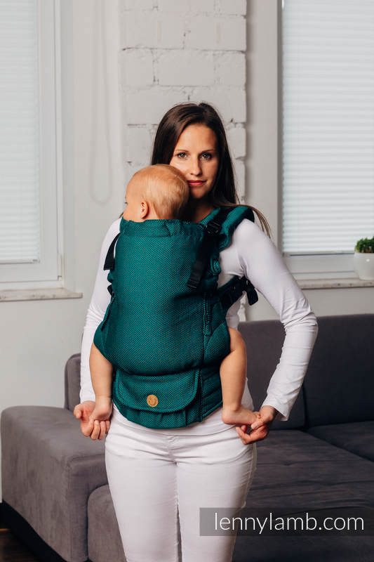LennyUpGrade Carrier, Standard Size, herringbone weave 100% cotton - BASIC LINE EMERALD #babywearing