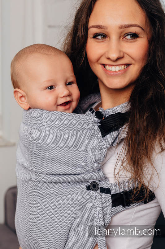 Mochila LennyUpGrade, talla estándar, tejido herringbone 100% algodón - LITTLE HERRINGBONE GRIS #babywearing