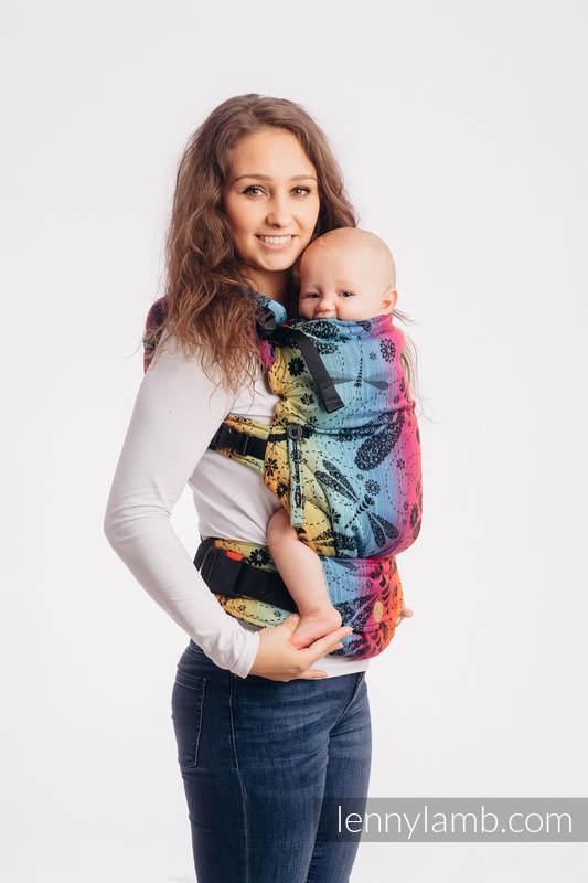 LennyUpGrade Tragehilfe, Größe Standard, Jacquardwebung, 100% Baumwolle - DRAGONFLY RAINBOW DARK #babywearing