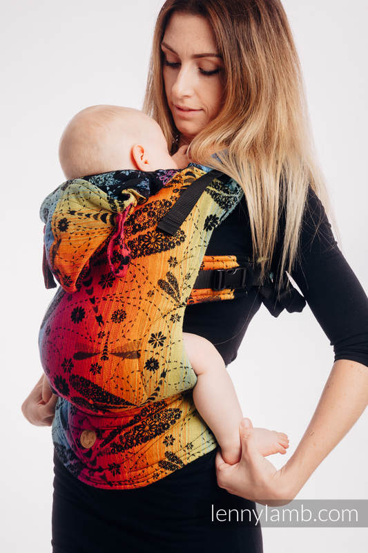 LennyGo Ergonomic Carrier, Baby Size, jacquard weave 100% cotton - DRAGONFLY RAINBOW DARK #babywearing