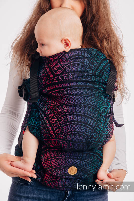 LennyUpGrade Carrier, Standard Size, jacquard weave (60% combed cotton, 28% Merino wool, 8% silk, 4% cashmere) - PEACOCK'S TAIL - BLACK OPAL #babywearing