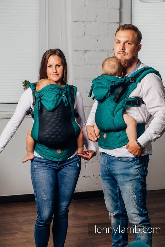 LennyGo Mochila Ergonómica Línea Básica- EMERALD, Talla bebé, tejido de espiga  100% algodón #babywearing
