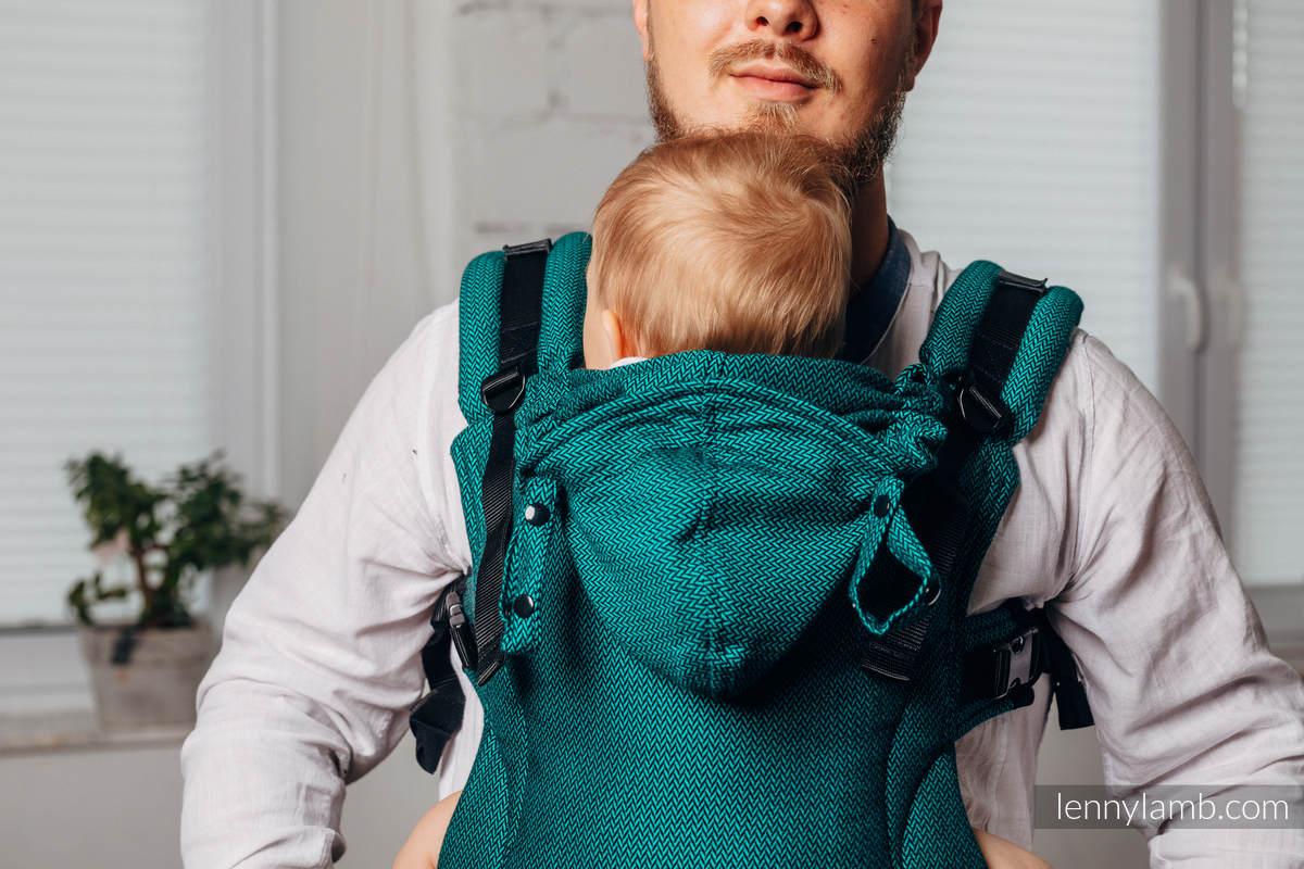 LennyGo Meine Zweite Ergonomische Tragehilfe - EMERALD, Größe Toddler, Fischgrätmuster, 100% Baumwolle  #babywearing