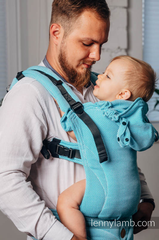 LennyGo Basic Line Ergonomic Carrier,  Baby Size, herringbone weave 100% cotton - LITTLE HERRINGBONE TURQUOISE  #babywearing