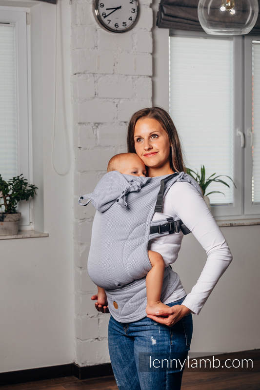 LennyGo Basic Line Ergonomic Carrier,  Baby Size, herringbone weave 100% cotton - LITTLE HERRINGBONE GREY #babywearing