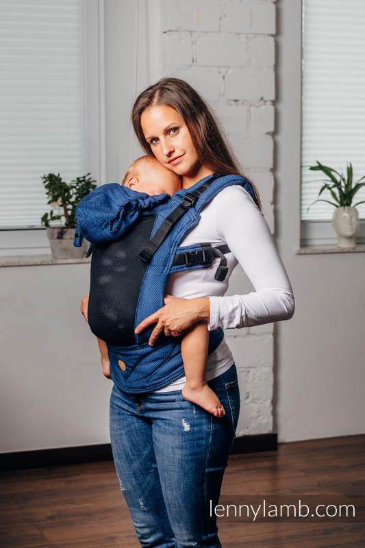 Moje Pierwsze Siatkowe Nosidełko Ergonomiczne LennyGo, splot jodełkowy, 86% bawełna, 14% poliester, rozmiar Baby - KOBALT #babywearing