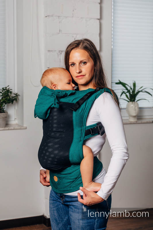 LennyGo Basic Line Ergonomic Mesh Carrier, Toddler Size, herringbone weave 86% cotton, 14% polyester - EMERALD #babywearing