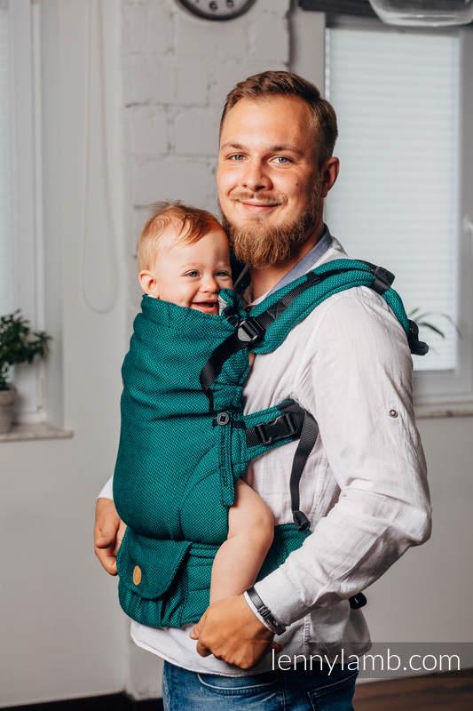 Mochila LennyUpGrade, talla estándar, tejido de espiga 100% algodón - BASIC LINE EMERALD #babywearing