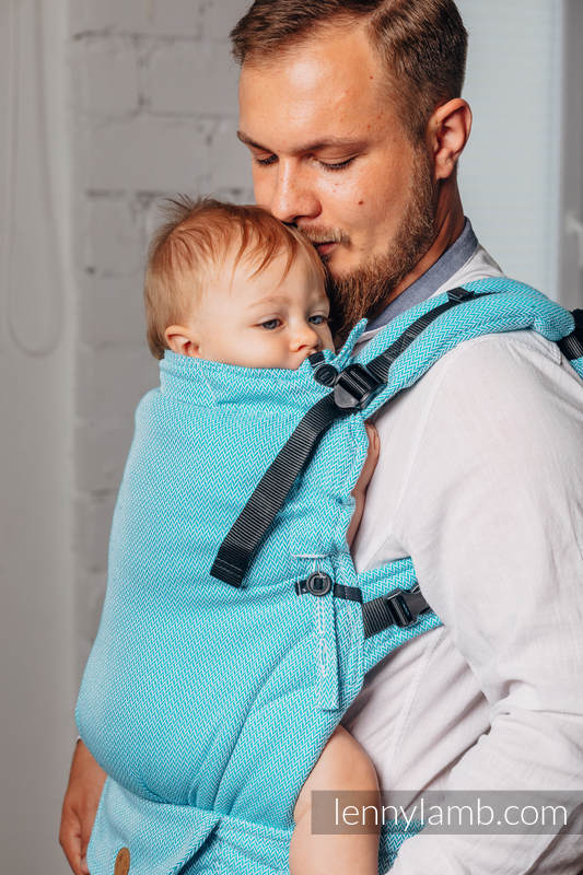 LennyUpGrade Carrier, Standard Size, herringbone weave 100% cotton - BASIC LINE LITTLE HERRINGBONE TURQUOISE  #babywearing