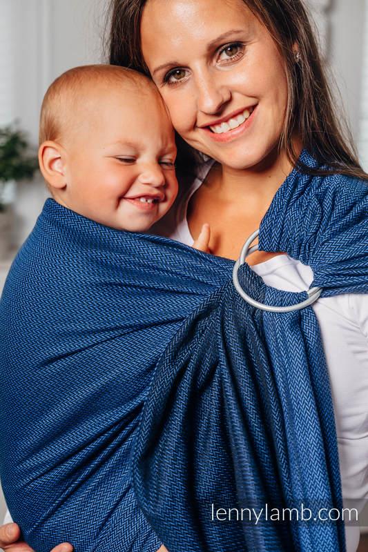 Sling de la gamme de base - COBALT - 100 % coton - tissage herringbone - avec épaule sans plis - long 2.1m (grade B) #babywearing