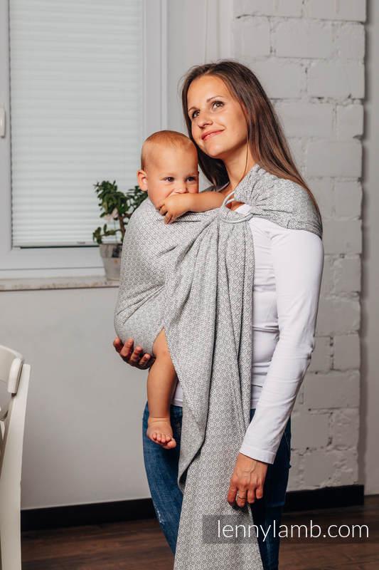 Moja druga chusta kółkowa do noszenia dzieci - LITTLELOVE - LARVIKIT, tkana splotem żakardowym - bawełniana - ramię bez zakładek - standard 1.8m #babywearing