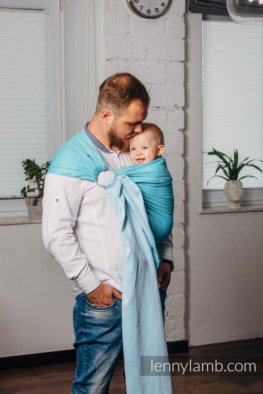 Basic Line Ring Sling, Herringbone Weave (100% cotton) - with gathered shoulder - LITTLE HERRINGBONE TURQUOISE - standard 1.8m (grade B) #babywearing