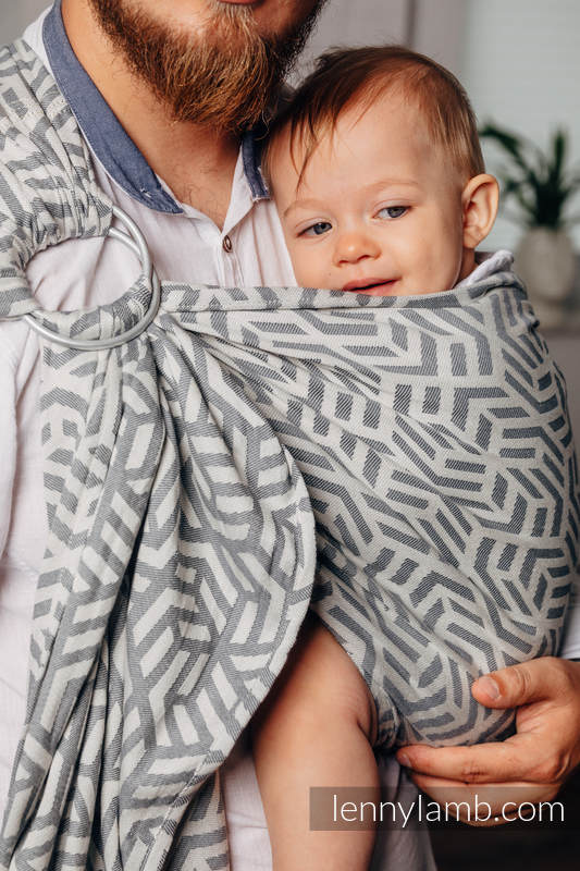 Basic Line Ring Sling - MOONSTONE - 100% Cotton - Jacquard Weave -  with gathered shoulder - standard 1.8m #babywearing