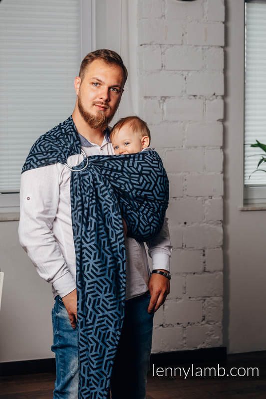 Basic Line Ring Sling - METEORITE - 100% Cotton - Jacquard Weave -  with gathered shoulder - standard 1.8m #babywearing