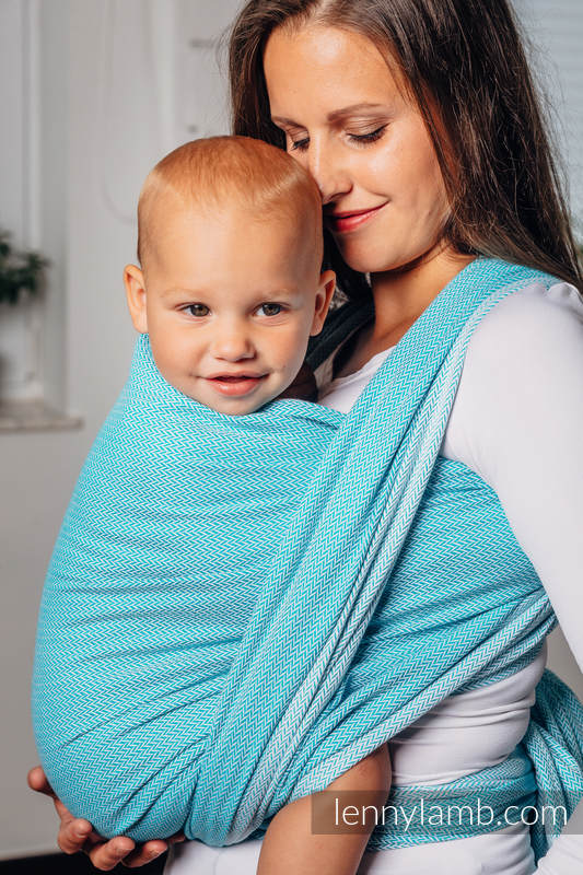 Basic Line Baby Sling, Herringbone Weave (100% cotton) - LITTLE HERRINGBONE TURQUOISE - size M (grade B) #babywearing