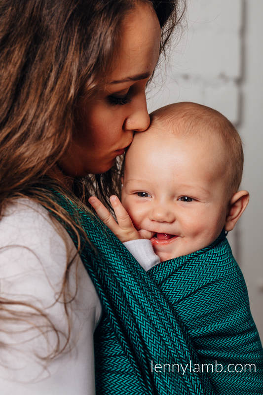 Fular Línea Básica - EMERALD, tejido de espiga, 100% algodón, talla L (grado B) #babywearing