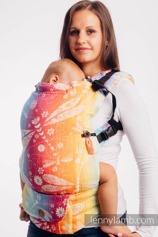 Mochila LennyUpGrade, talla estándar, tejido jaqurad 100% algodón - DRAGONFLY RAINBOW #babywearing