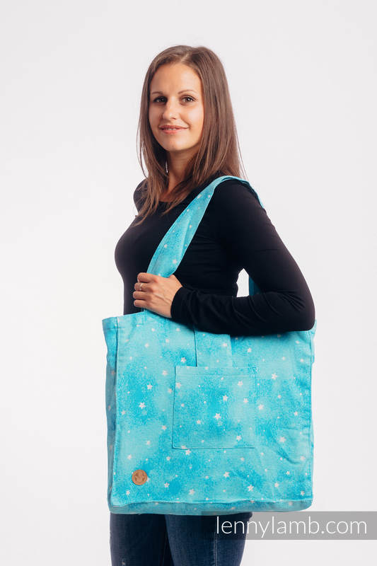 Bolso hecho de tejido de fular (96% algodón, 4% hilo metalizado) - TWINKLING STARS - PERSEIDS - talla estándar 37 cm x 37 cm #babywearing