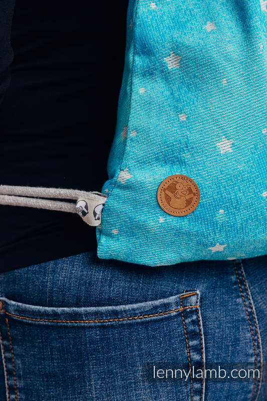 Plecak/worek - 96% bawełna, 4% przędza metalizowana - MIGOCZĄCE GWIAZDY - PERSEIDY - uniwersalny rozmiar 32cmx43cm (drugi gatunek) #babywearing
