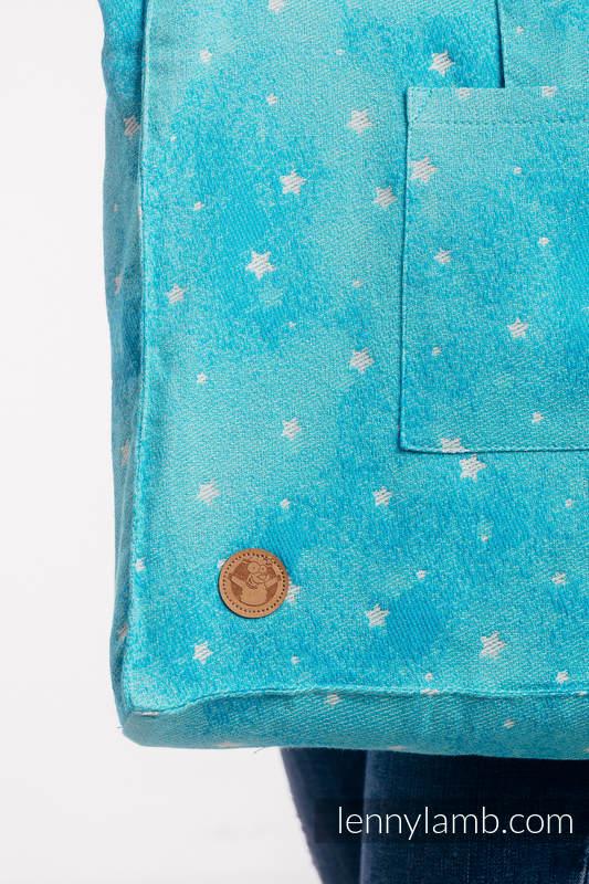 Torba na ramię z materiału chustowego, (96% bawełna, 4% przędza metalizowana) - MIGOCZĄCE GWIAZDY - PERSEIDY - uniwersalny rozmiar 37cmx37cm #babywearing