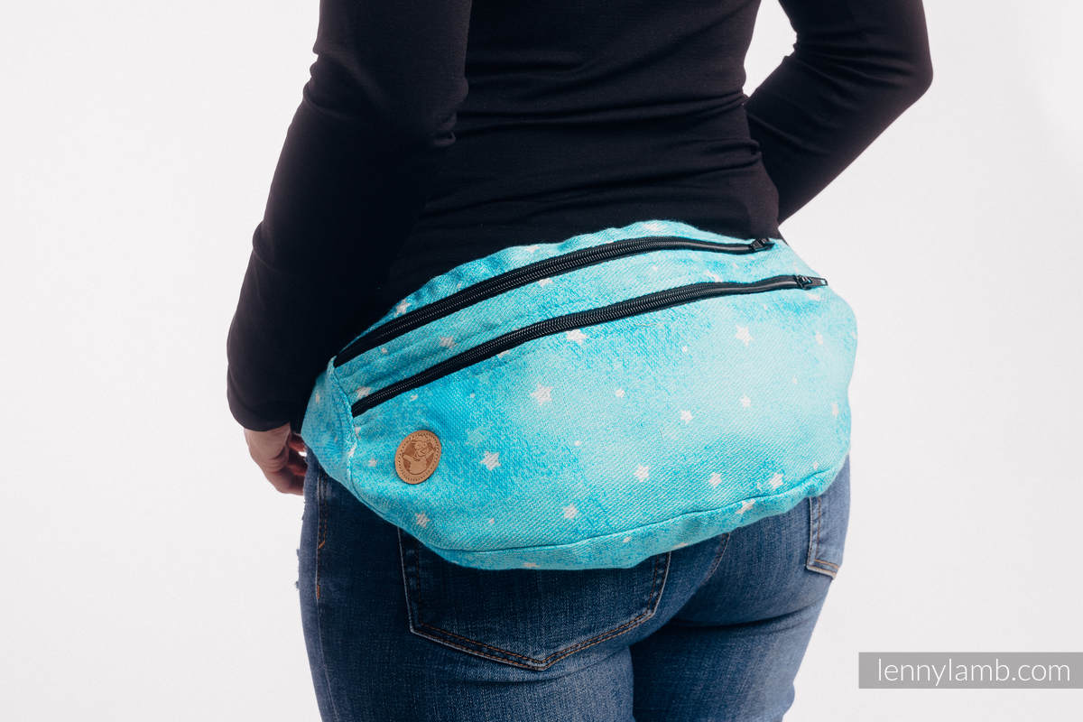 Waist Bag made of woven fabric, size large (96% cotton, 4% metallised yarn) - TWINKLING STARS - PERSEIDS #babywearing