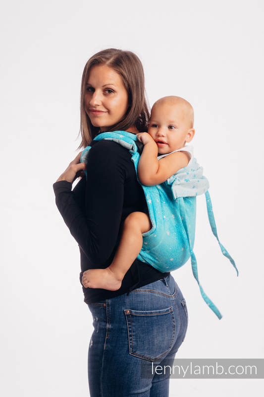 Lenny Buckle Onbuhimo baby carrier, toddler size, jacquard weave (96% cotton, 4% metallised yarn) - TWINKLING STARS - PERSEIDS #babywearing