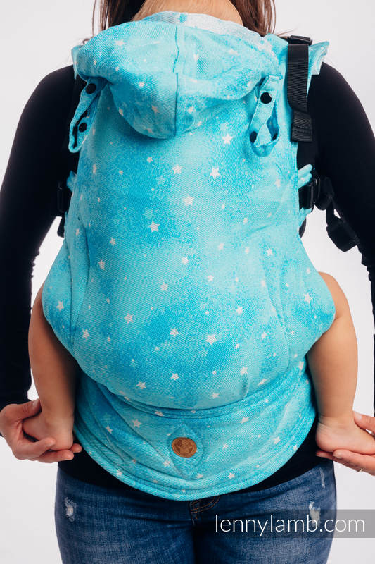 LennyGo Ergonomic Carrier, Toddler Size, jacquard weave 96% cotton, 4% metallised yarn - TWINKLING STARS - PERSEIDS #babywearing