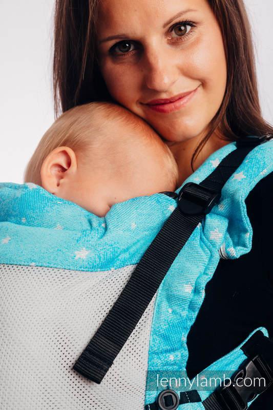 Porte-bébé en maille LennyUpGrade, taille standard, jacquard (73% coton, 25% polyester, 2% Fils métallisés) - TWINKLING STARS - PERSEIDS #babywearing
