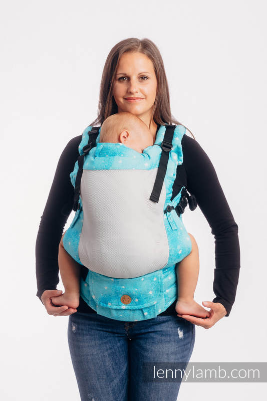 LennyUpGrade Mesh Carrier, Standard Size, jacquard weave (73% cotton, 25% polyester, 2% metallised yarn) - TWINKLING STARS - PERSEIDS #babywearing