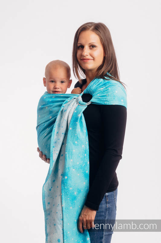 Ringsling, Jacquard Weave (96% cotton, 4% metallised yarn) - with gathered shoulder - TWINKLING STARS - PERSEIDS - long 2.1m #babywearing