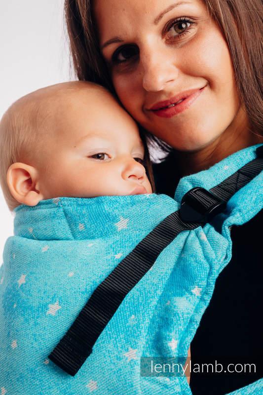 LennyUpGrade Carrier, Standard Size, jacquard weave 96% cotton, 4% metallised yarn - TWINKLING STARS - PERSEIDS #babywearing