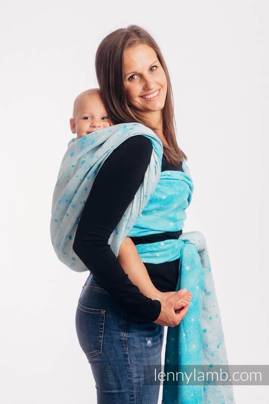 Baby Wrap, Jacquard Weave (96% cotton, 4% metallised yarn) - TWINKLING STARS - PERSEIDS - size M #babywearing