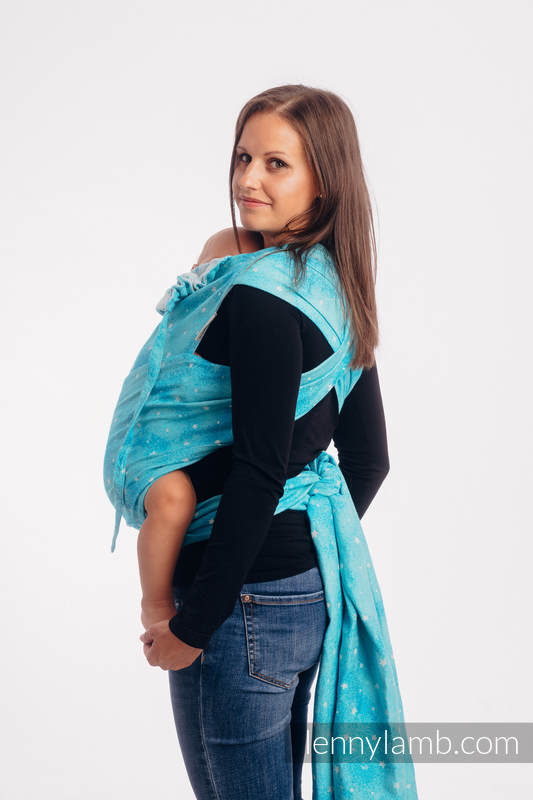 WRAP-TAI carrier Mini with hood/ jacquard twill / 96% cotton, 4% metallised yarn - TWINKLING STARS - PERSEIDS #babywearing