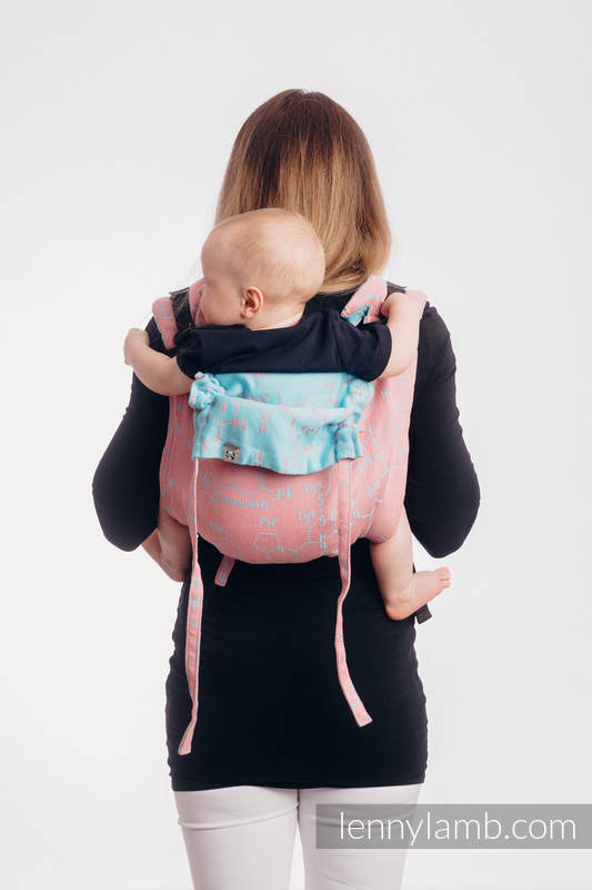 Lenny Buckle Onbuhimo baby carrier, Toddler size, jacquard weave (47% cotton, 37% linen, 16% silk) - LOVE HORMONES - PINK RIVER #babywearing