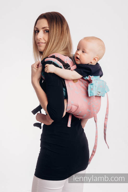 Onbuhimo de Lenny, taille standard, jacquard, (47% Coton, 37% Lin, 16% Soie) - LOVE HORMONES - PINK RIVER #babywearing