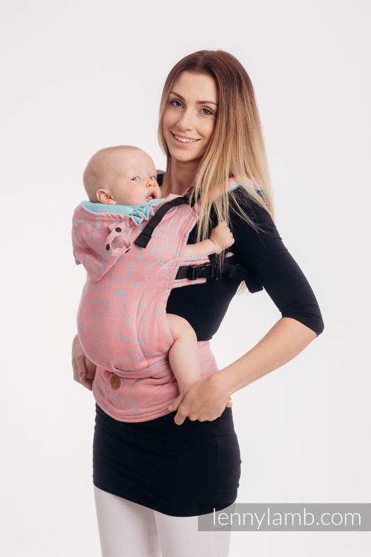 LennyGo Ergonomic Carrier, Toddler Size, jacquard weave (47% cotton, 37% linen, 16% silk) - LOVE HORMONES - PINK RIVER #babywearing