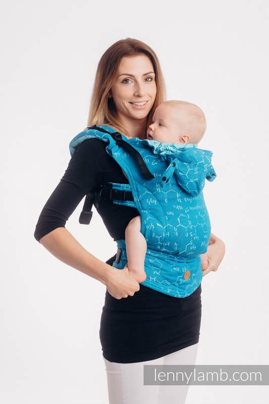 LennyGo Ergonomische Tragehilfe, Größe Baby, Jacquardwebung, (72% Baumwolle, 28% Seide) - LOVE HORMONES - LOVE OCEAN #babywearing