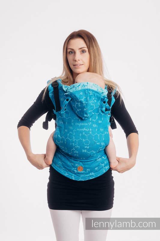 LennyGo Ergonomic Carrier, Baby Size, jacquard weave (72% cotton, 28% silk) - LOVE HORMONES - LOVE OCEAN #babywearing
