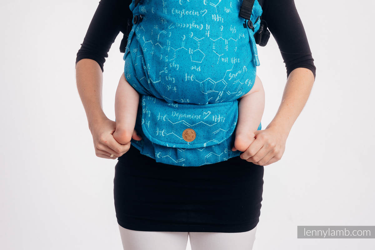 LennyUpGrade Carrier, Standard Size, jacquard weave (72% cotton, 28% silk) - LOVE HORMONES - LOVE OCEAN #babywearing