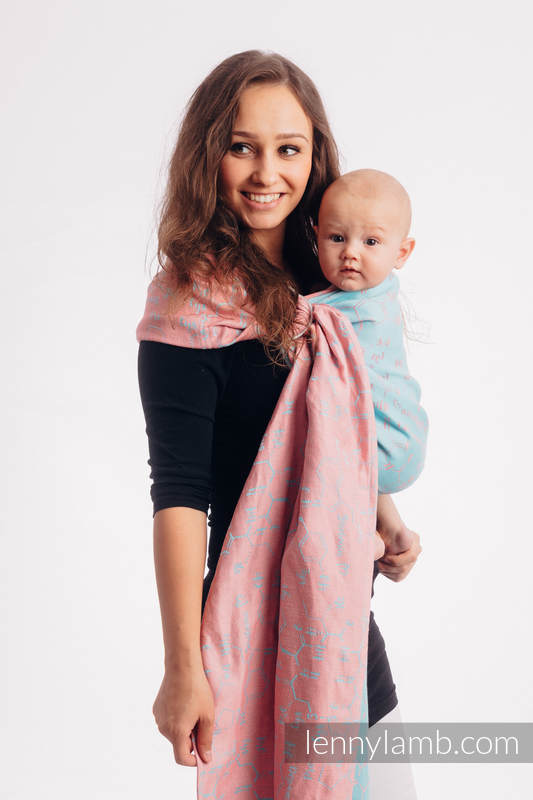 Ringsling, Jacquard Weave, with gathered shoulder (47% cotton, 37% linen, 16%  silk) - LOVE HORMONES - PINK RIVER - standard 1.8m #babywearing