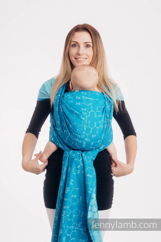 Baby Wrap, Jacquard Weave (72% cotton, 28% silk) - LOVE HORMONES - LOVE OCEAN - size XS #babywearing