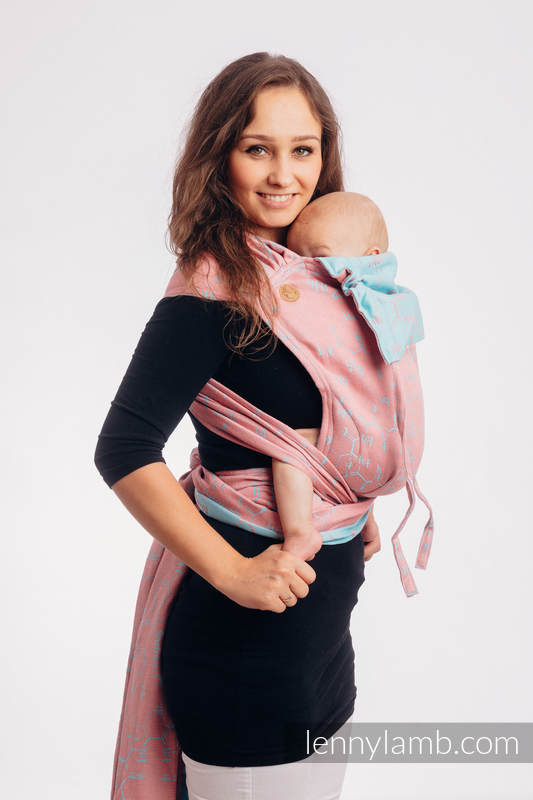WRAP-TAI carrier Mini with hood/ jacquard twill (47% cotton, 37% linen, 16% silk) - LOVE HORMONES - PINK RIVER #babywearing