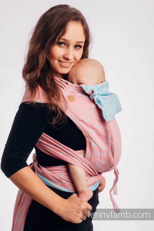 WRAP-TAI mini avec capuche, jacquard, (47% Coton, 37% Lin, 16% Soie) - LOVE HORMONES - PINK RIVER #babywearing