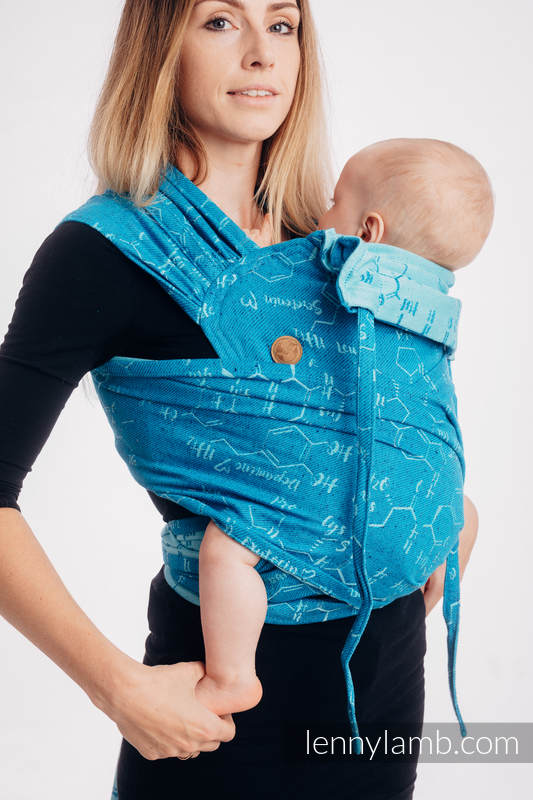 WRAP-TAI carrier Mini with hood/ jacquard twill (72% cotton, 28% silk) - LOVE HORMONES - LOVE OCEAN #babywearing